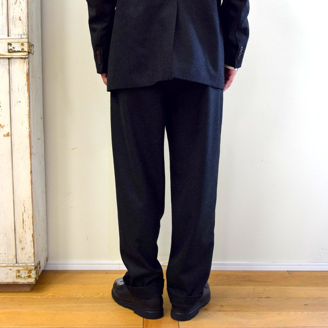 【2020】FRANK LEDER(フランクリーダー)/ LIGHT WEIGHT LODEN WOOL 2TUCK TROUSERS -BLACK- #0723028(4)