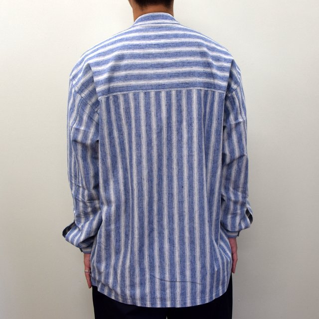 E. TAUTZ(イートウツ)/ COLLARLESS LINEMAN SHIRT -BLUE STRIPE- #(4)