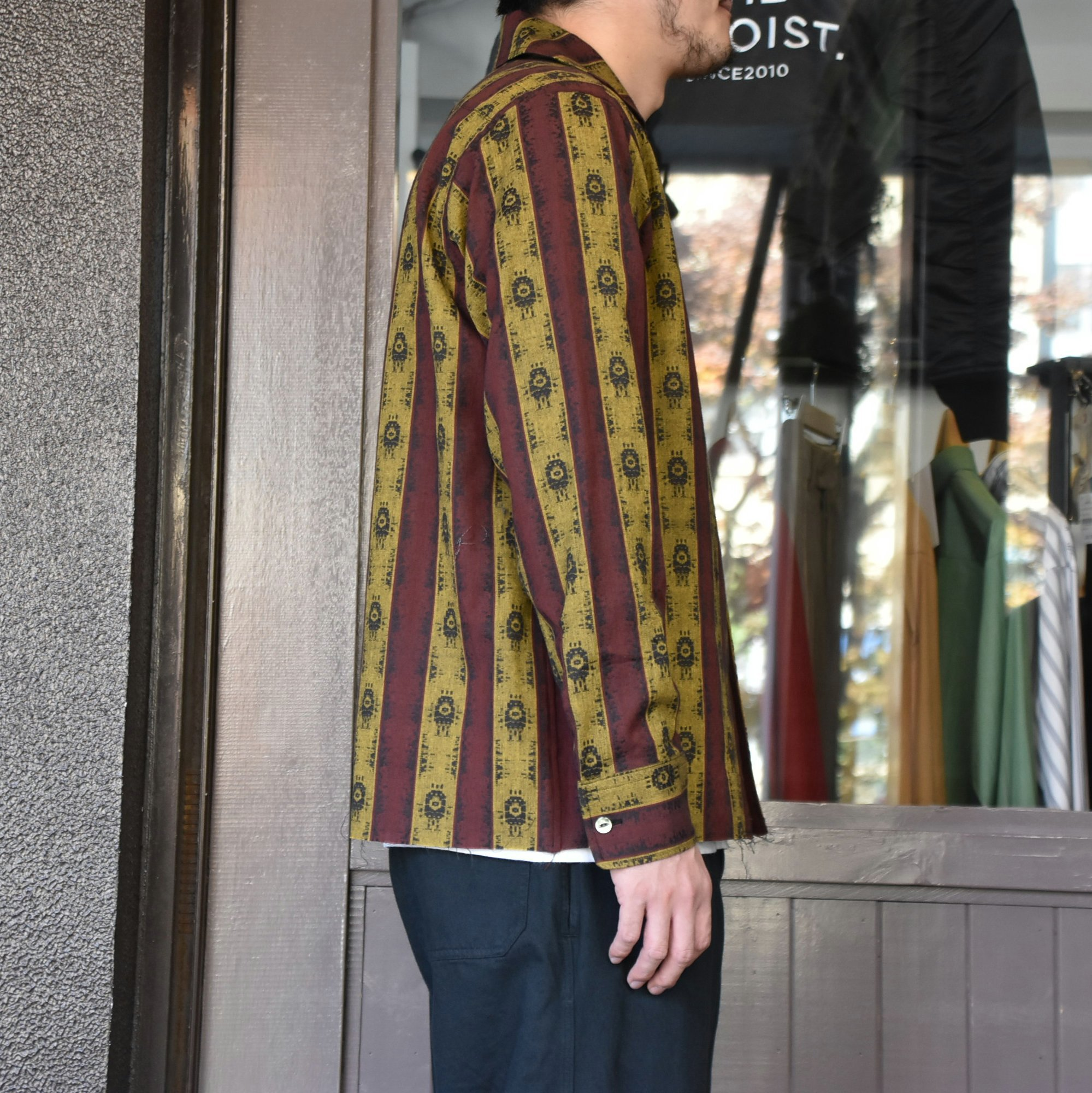 [2021]NEEDLES(ニードルス) C.O.B. ITALIAN COLLAR SHIRT INDIA STRIPE JQ -BORDEAUX-#IN112(4)