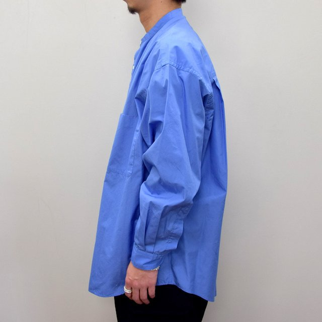 Graphpaper (グラフペーパー)/ BROAD OVERSIZED L/S BAND COLLAR SHIRT -BLUE- #GM211-50111B-GR(4)