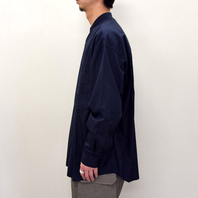 Graphpaper (グラフペーパー)/ BROAD OVERSIZED L/S BAND COLLAR SHIRT -NAVY- #GM211-50111B-GR(4)