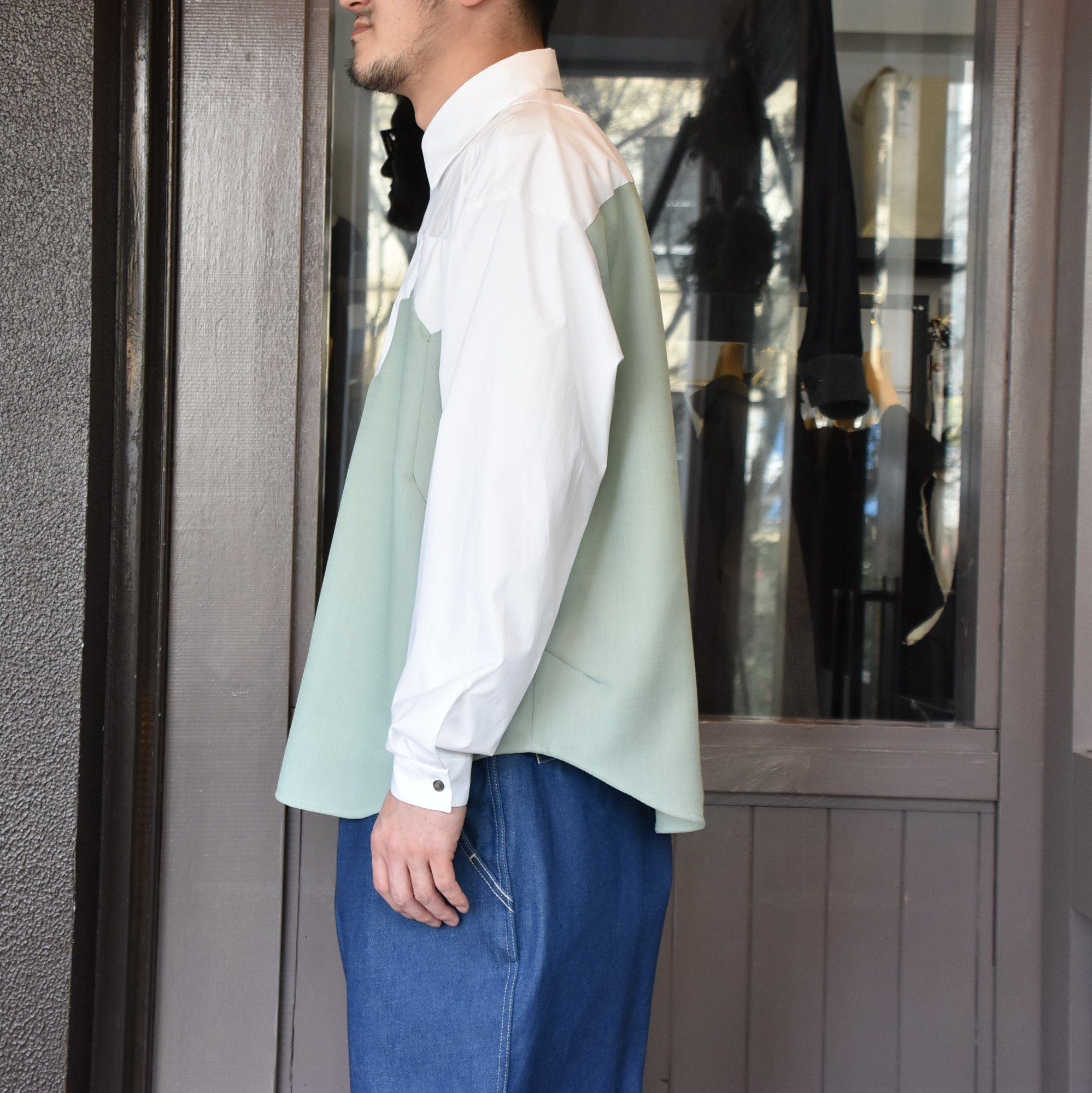 [2021]amachi.(アマチ) Sculpture Line Shirt -GREEN GRAY×WHITE #AY8-8(4)