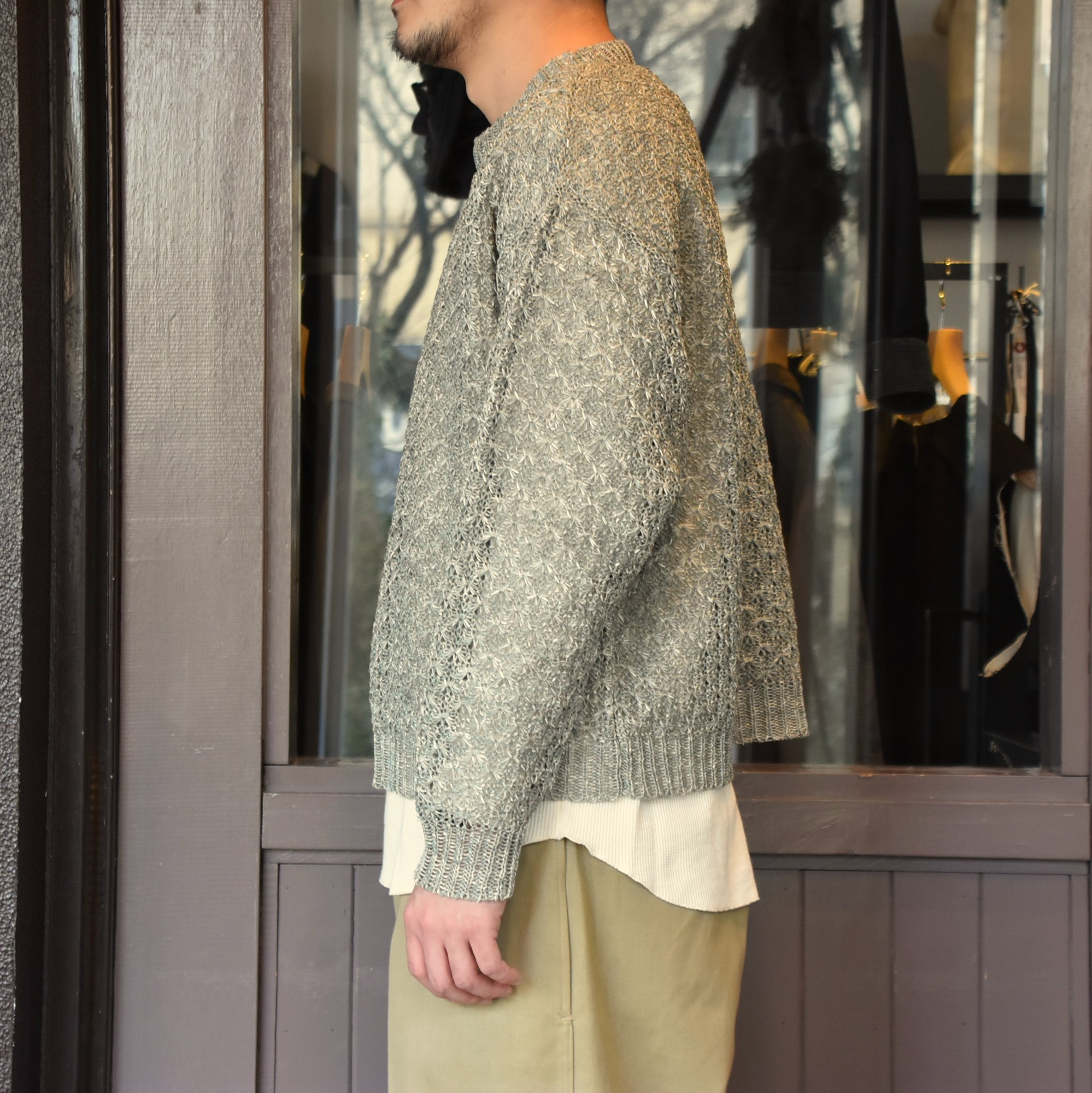 [2021]amachi.(アマチ) Paesina Stone Knit -GREEN GRAY- #AY8-27(4)
