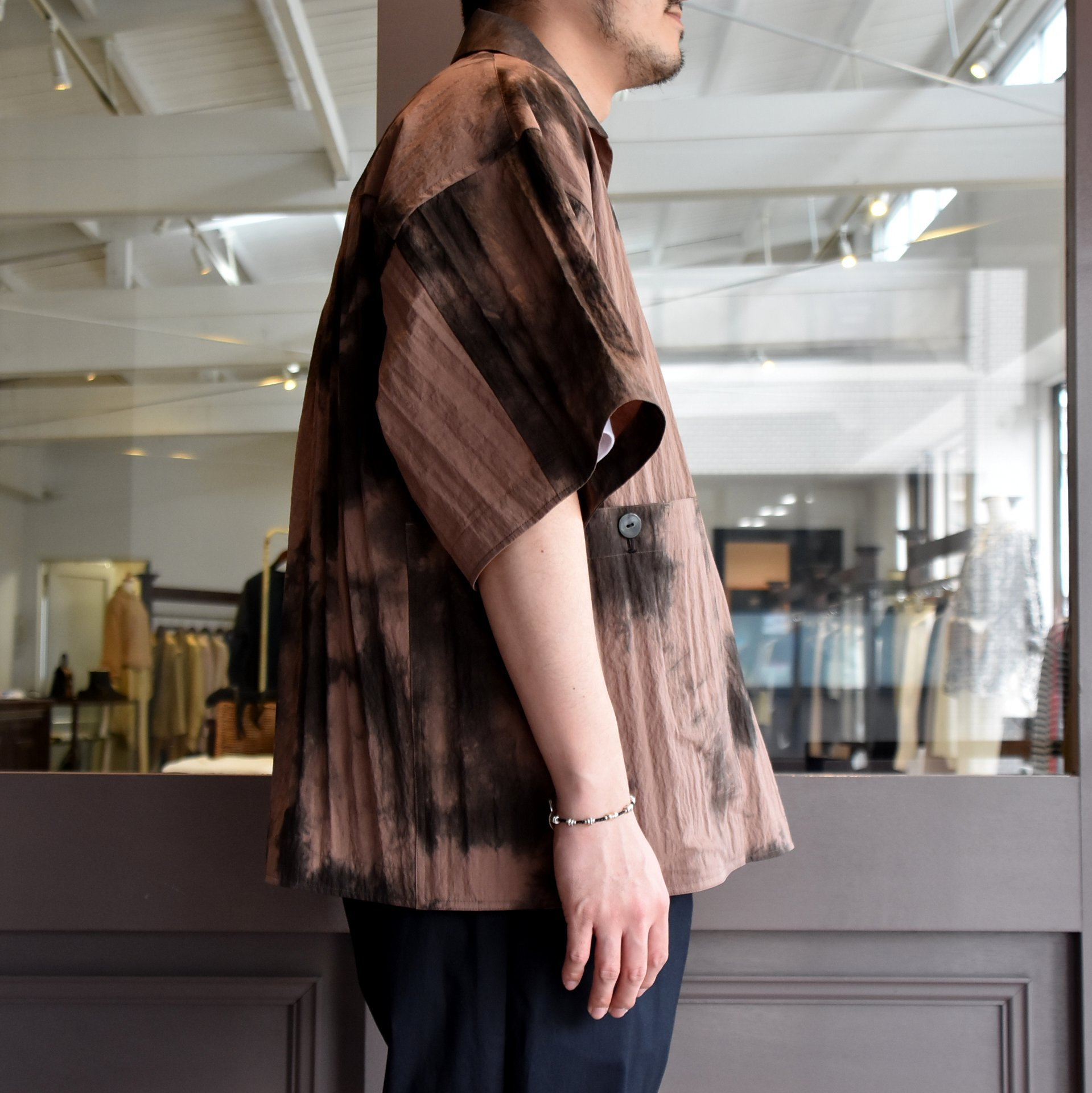 [2021]amachi.(アマチ) Packable Meeting Shirt -Brown Uneven Dye- #AY8-14(4)