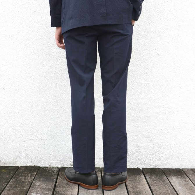 KENNETH FIELD (ケネスフィールド)  TRIM TROUSER ITALIAN SUCKER -NAVY- #17SS-40(5)