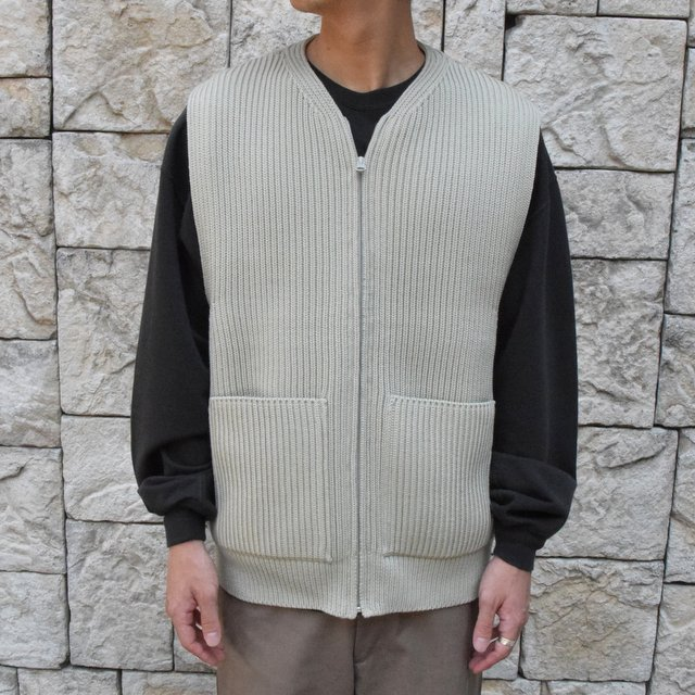 【30% OFF SALE】【2019AW】 AURALEE(オーラリー)/SUPER FINE WOOL RIB KNIT ZIP VEST #A9AV03RK-GRN(5)