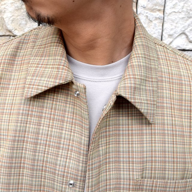 【2020 SS】 AURALEE(オーラリー)/ HARD TWIST WOOL DOUBLE FACE CHECK BLOUZON -BEIGE CHECK- #A20SB01WC(5)