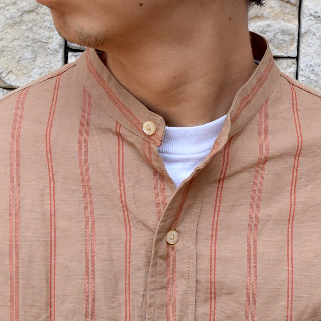 【2020】 A VONTADE(ア ボンタージ)/ BANDED COLLAR SHIRTS -BROWN STRIPE- #VTD-0312-SH(5)