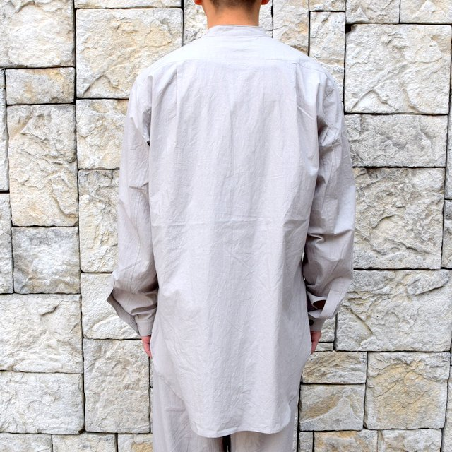 【30% off sale】【2020】FRANK LEDER(フランクリーダー)/ TRIPLE WASHED THIN COTTON STAND COLLAR SH -GREY- #0916086-95(5)