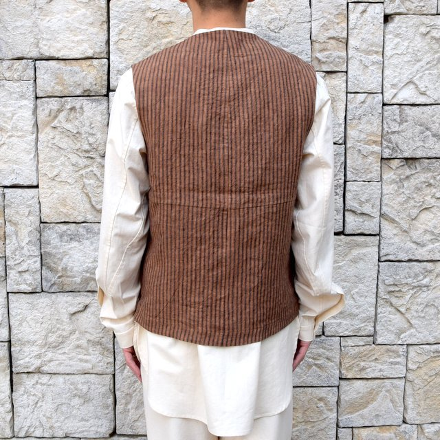 【30% off sale】【2020】FRANK LEDER(フランクリーダー)/ ROOT DYED STRIPED LINEN VEST -BROWN- #0917073-89(5)