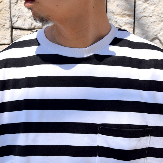 【2020】Graphpaper (グラフペーパー)/ BORDER POCKET TEE S/S -WHITE×BLACK- #GM201-70149B(5)