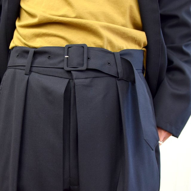 【2020】YOKE(ヨーク)/ FRONT TUCK BELTED WIDE TROUSERS -BLACK- #YK20AW0158P(5)