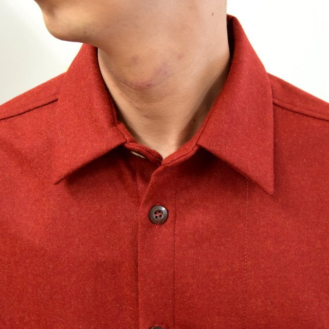 FRANK LEDER(フランクリーダー)/ LIGHT WEIGHT LODEN WOOL PLAIN SHIRT -RED- #0726027(5)