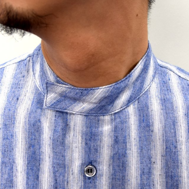 E. TAUTZ(イートウツ)/ COLLARLESS LINEMAN SHIRT -BLUE STRIPE- #(5)