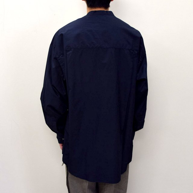 Graphpaper (グラフペーパー)/ BROAD OVERSIZED L/S BAND COLLAR SHIRT -NAVY- #GM211-50111B-GR(5)
