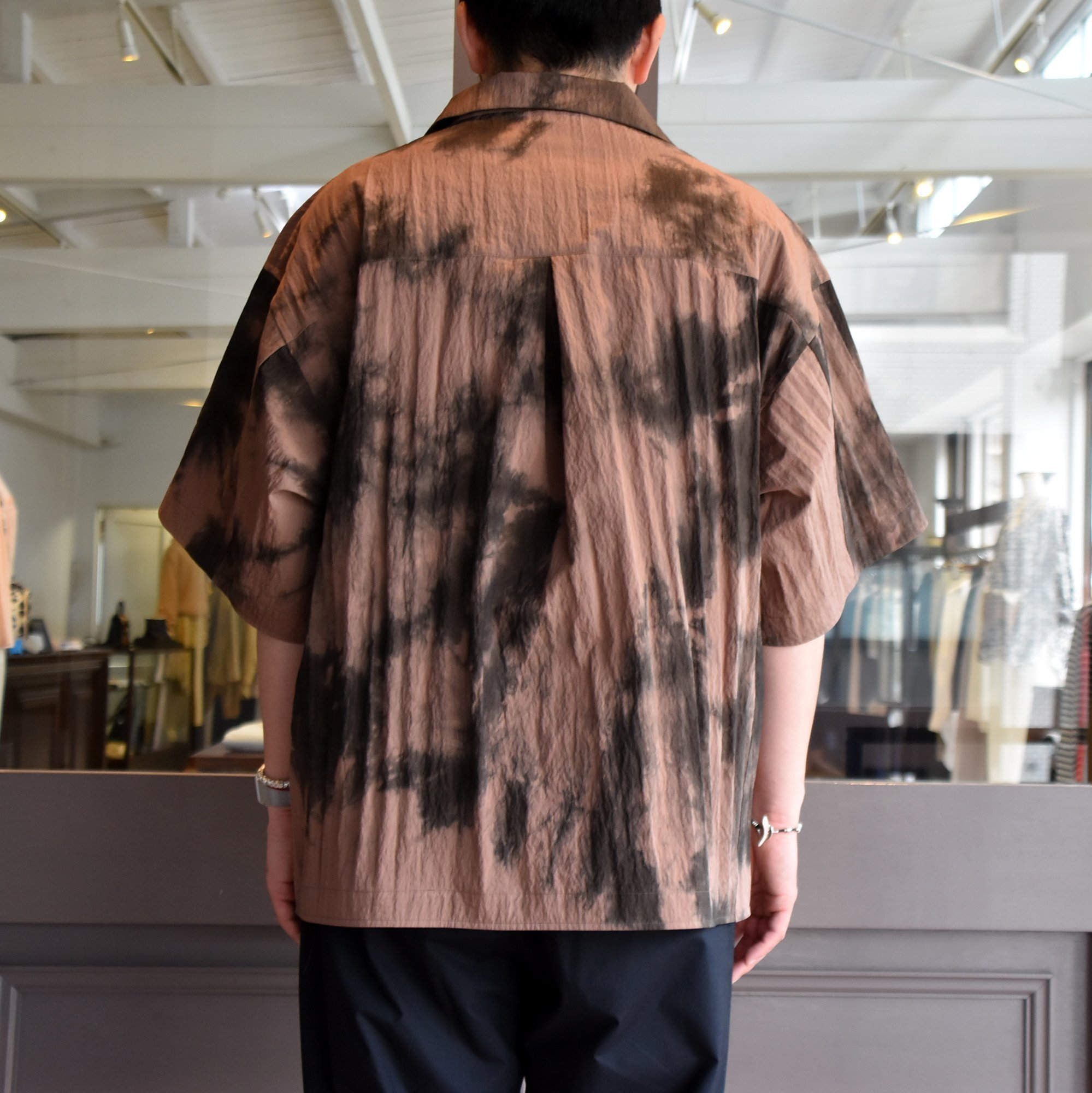 [2021]amachi.(アマチ) Packable Meeting Shirt -Brown Uneven Dye- #AY8-14(5)