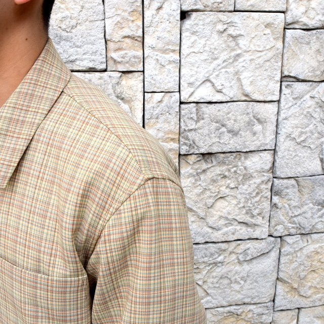 【2020 SS】 AURALEE(オーラリー)/ HARD TWIST WOOL DOUBLE FACE CHECK BLOUZON -BEIGE CHECK- #A20SB01WC(6)