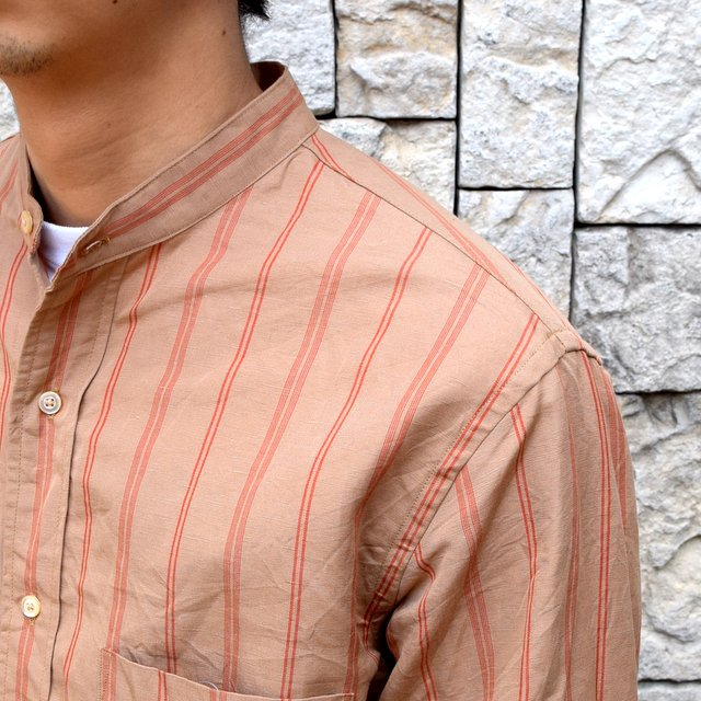 【2020】 A VONTADE(ア ボンタージ)/ BANDED COLLAR SHIRTS -BROWN STRIPE- #VTD-0312-SH(6)