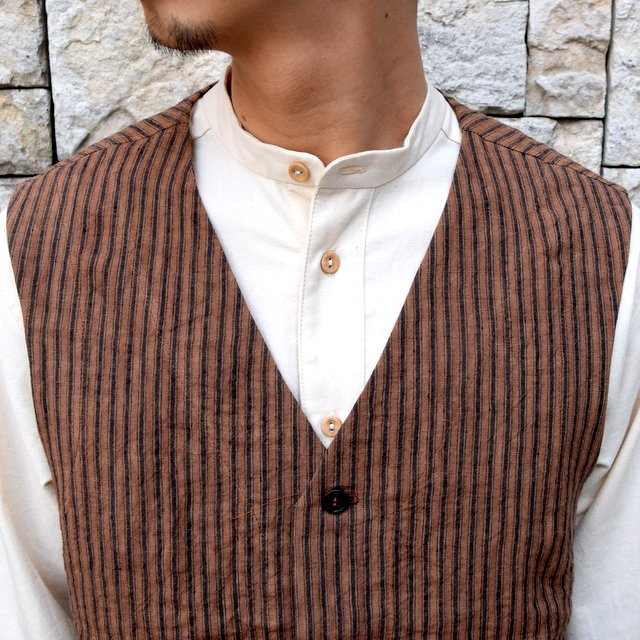 【30% off sale】【2020】FRANK LEDER(フランクリーダー)/ ROOT DYED STRIPED LINEN VEST -BROWN- #0917073-89(6)