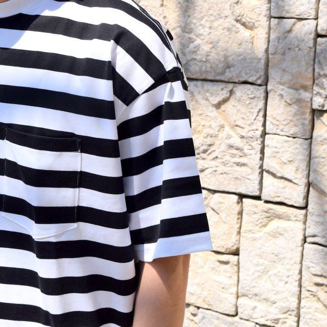 【2020 SS】Graphpaper (グラフペーパー)/ BORDER POCKET TEE S/S -WHITE×BLACK- #GM201-70149B(6)