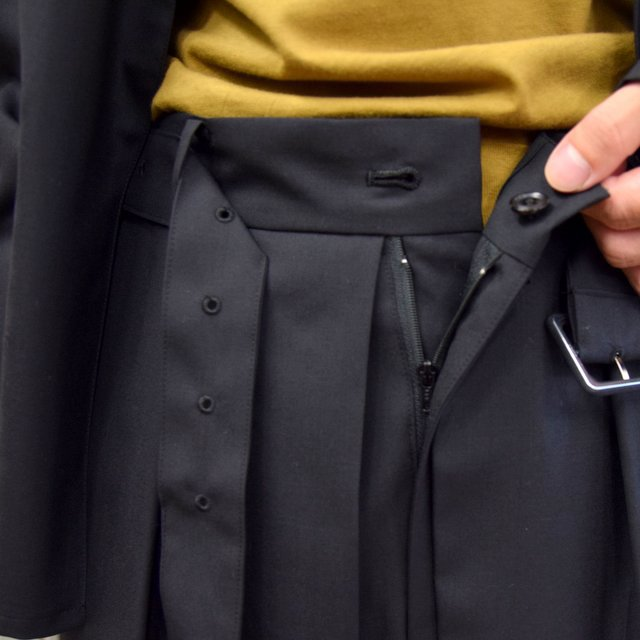 【2020】YOKE(ヨーク)/ FRONT TUCK BELTED WIDE TROUSERS -BLACK- #YK20AW0158P(6)