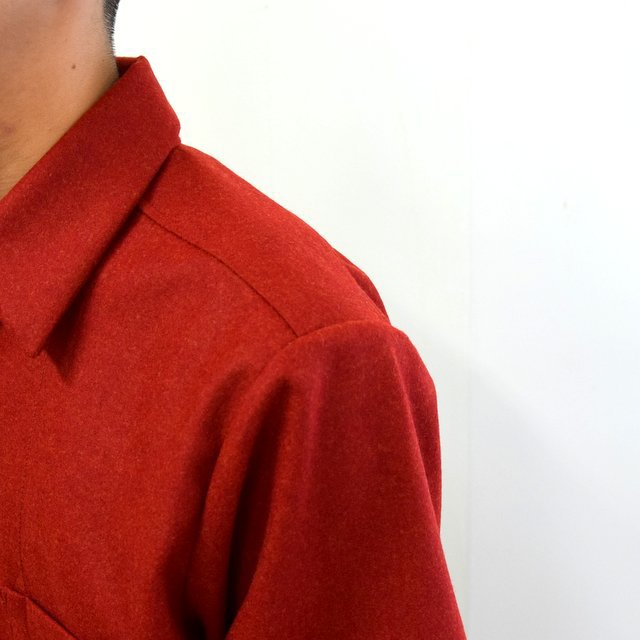 FRANK LEDER(フランクリーダー)/ LIGHT WEIGHT LODEN WOOL PLAIN SHIRT -RED- #0726027(6)