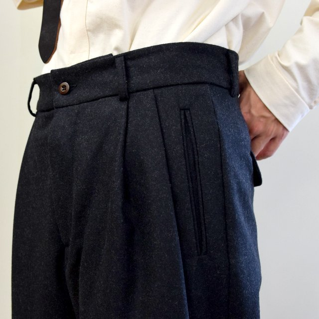 【2020】FRANK LEDER(フランクリーダー)/ LIGHT WEIGHT LODEN WOOL 2TUCK TROUSERS -BLACK- #0723028(6)