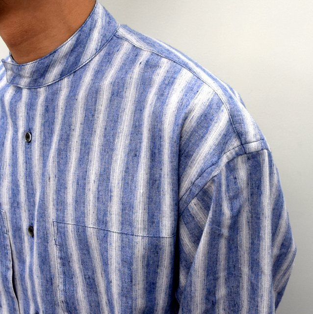 E. TAUTZ(イートウツ)/ COLLARLESS LINEMAN SHIRT -BLUE STRIPE- #(6)