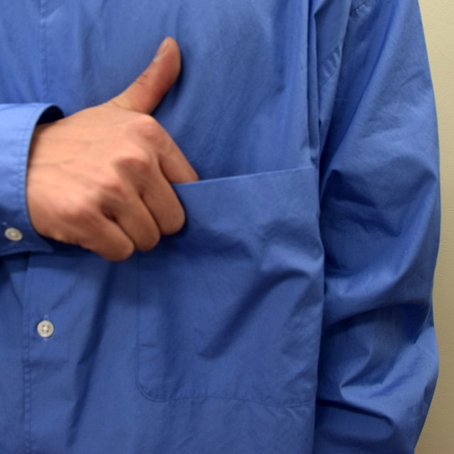 Graphpaper (グラフペーパー)/ BROAD OVERSIZED L/S BAND COLLAR SHIRT -BLUE- #GM211-50111B-GR(6)