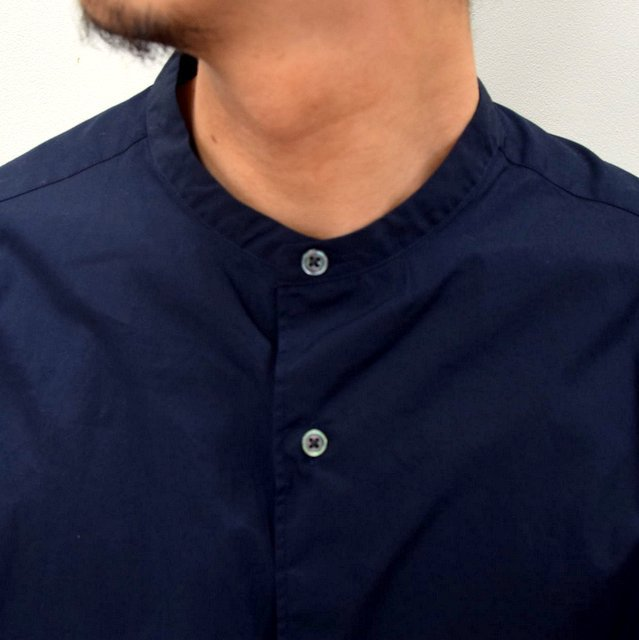 Graphpaper (グラフペーパー)/ BROAD OVERSIZED L/S BAND COLLAR SHIRT -NAVY- #GM211-50111B-GR(6)