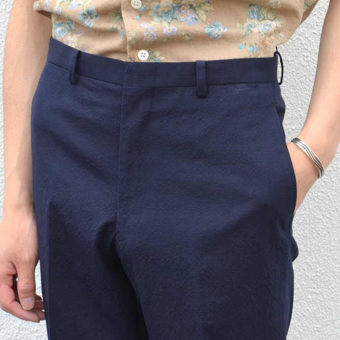KENNETH FIELD (ケネスフィールド)  TRIM TROUSER ITALIAN SUCKER -NAVY- #17SS-40(7)