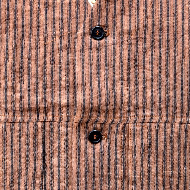 【30% off sale】【2020】FRANK LEDER(フランクリーダー)/ ROOT DYED STRIPED LINEN VEST -BROWN- #0917073-89(7)