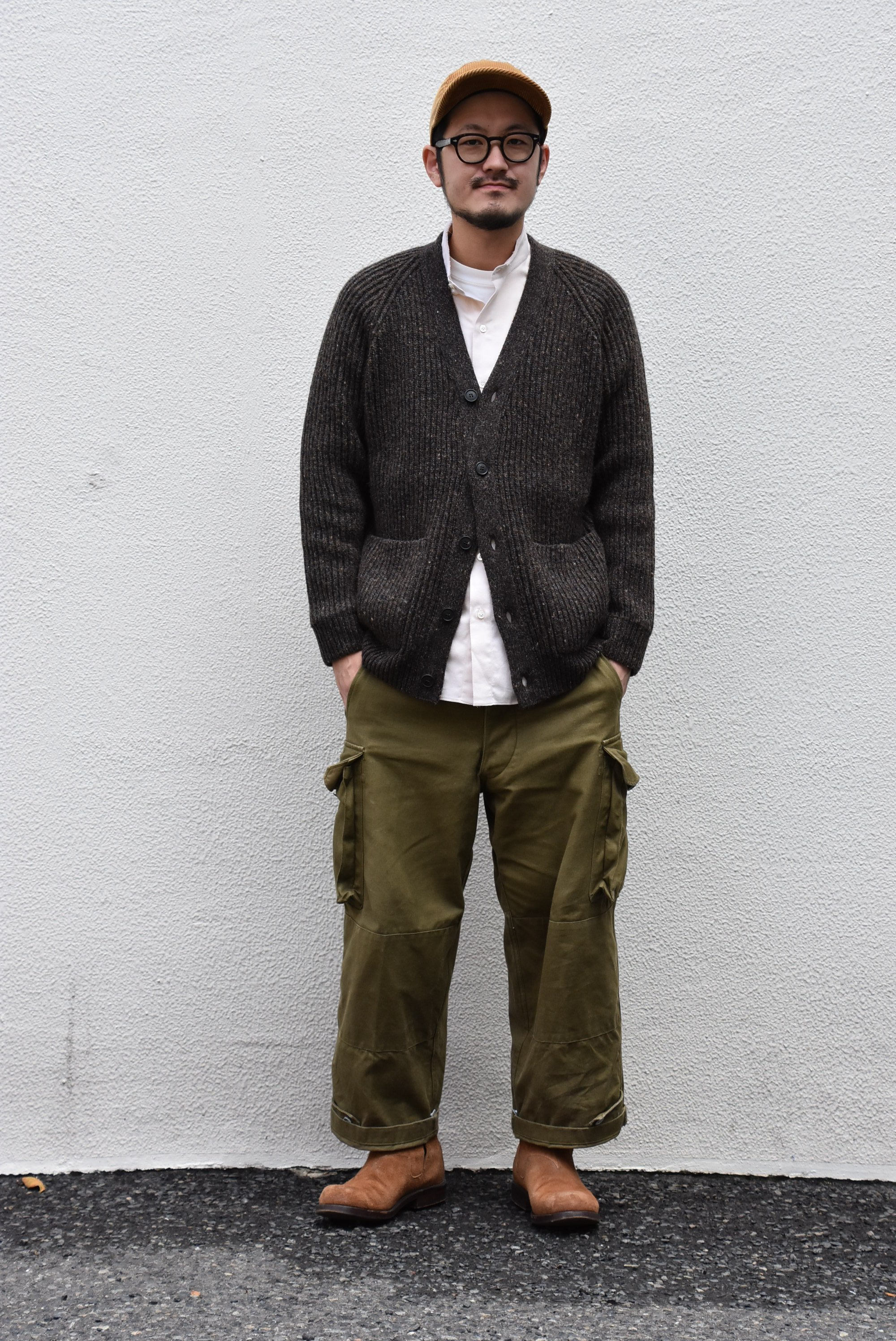 【2020】 Cristaseya(クリスタセヤ)/ CAMEL RIBBED CARDIGAN-BROWN- #22KA-CA-BB(7)