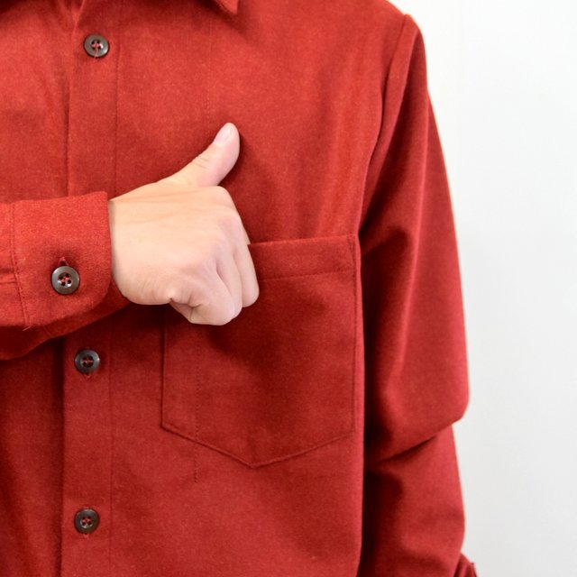 FRANK LEDER(フランクリーダー)/ LIGHT WEIGHT LODEN WOOL PLAIN SHIRT -RED- #0726027(7)