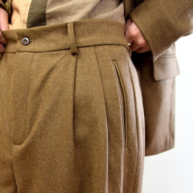 FRANK LEDER(フランクリーダー)/ LIGHT WEIGHT LODEN WOOL 2TUCK TROUSERS -BROWN- #0723028(7)