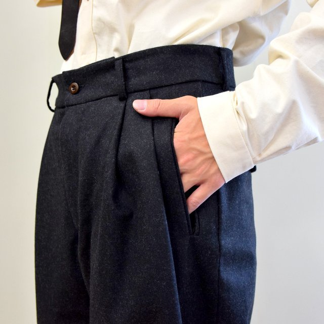 【2020】FRANK LEDER(フランクリーダー)/ LIGHT WEIGHT LODEN WOOL 2TUCK TROUSERS -BLACK- #0723028(7)