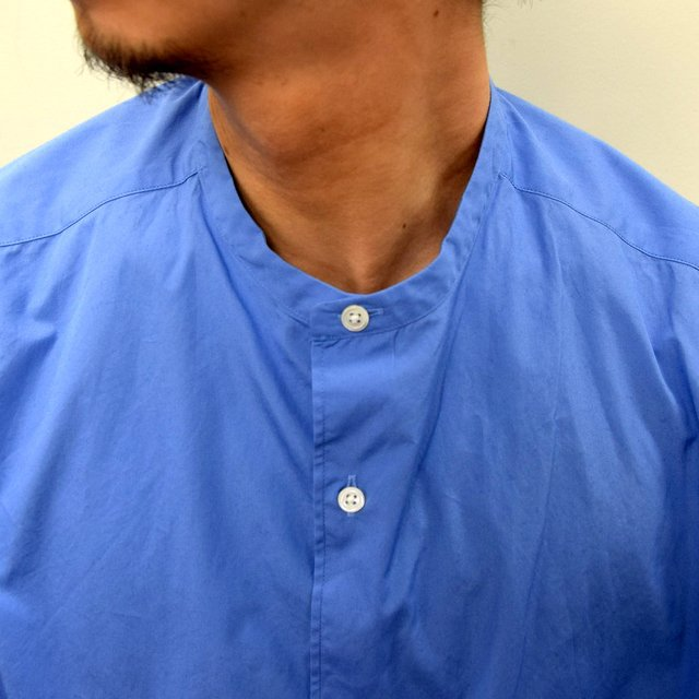 Graphpaper (グラフペーパー)/ BROAD OVERSIZED L/S BAND COLLAR SHIRT -BLUE- #GM211-50111B-GR(7)