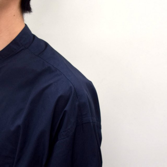Graphpaper (グラフペーパー)/ BROAD OVERSIZED L/S BAND COLLAR SHIRT -NAVY- #GM211-50111B-GR(7)