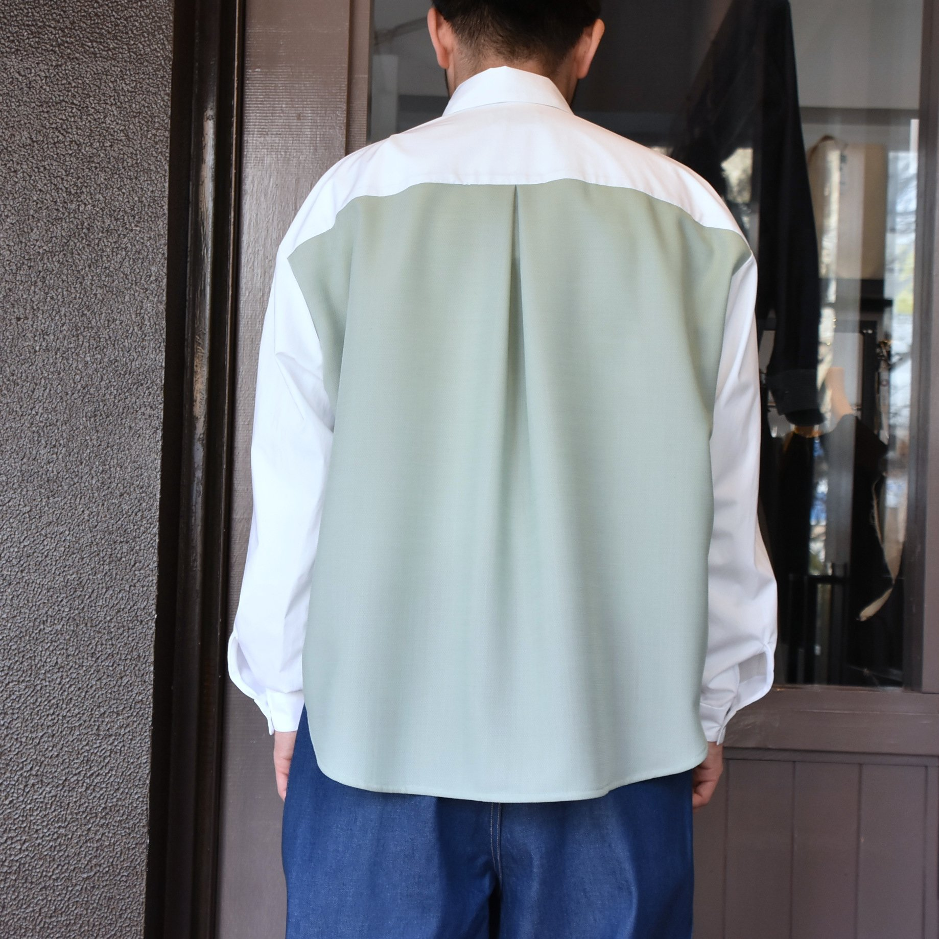 [2021]amachi.(アマチ) Sculpture Line Shirt -GREEN GRAY×WHITE #AY8-8(7)