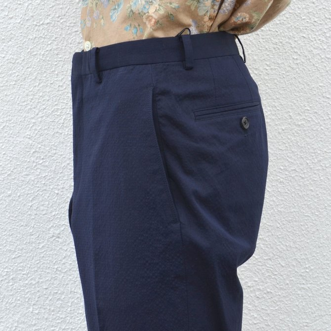 KENNETH FIELD (ケネスフィールド)  TRIM TROUSER ITALIAN SUCKER -NAVY- #17SS-40(8)