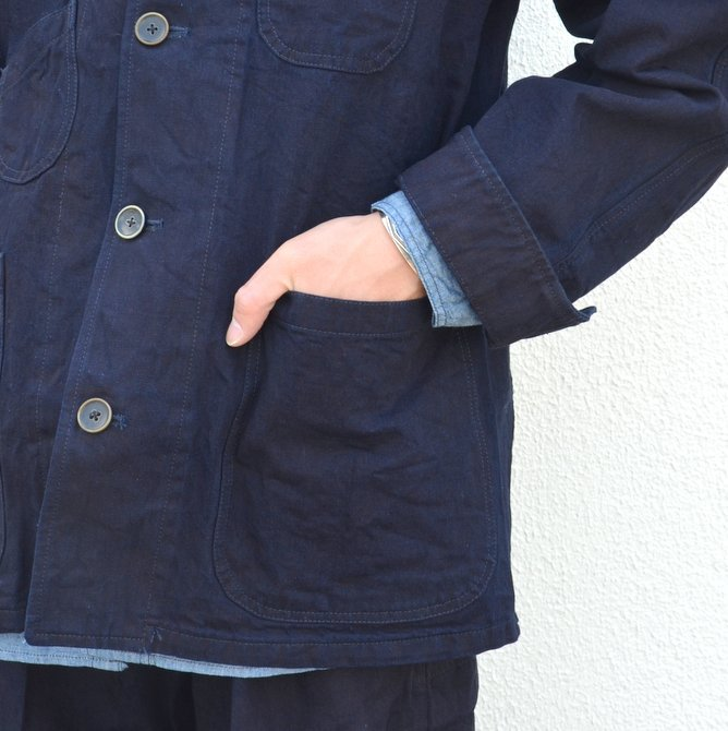 chimala(チマラ)/10OZ INDIGO X BLACK WEFT DENIM RAILROAD JACKET(UNISEX) -INDIGO- CS23-JT19(8)