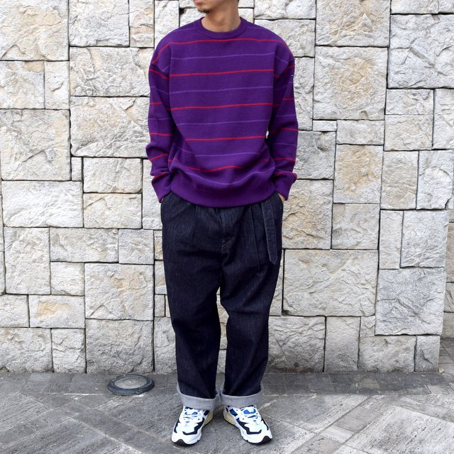 【2020 SS】crepuscule(クレプスキュール)/BORDER LONG SLEEVE TEE -PURPLE- #2001-001-PU(8)