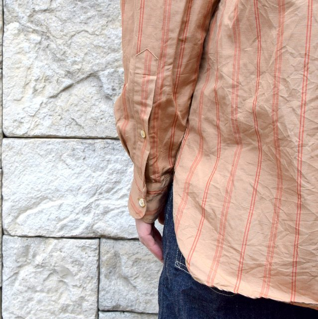 【2020】 A VONTADE(ア ボンタージ)/ BANDED COLLAR SHIRTS -BROWN STRIPE- #VTD-0312-SH(8)
