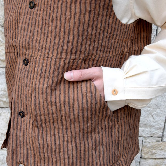 【30% off sale】【2020】FRANK LEDER(フランクリーダー)/ ROOT DYED STRIPED LINEN VEST -BROWN- #0917073-89(8)