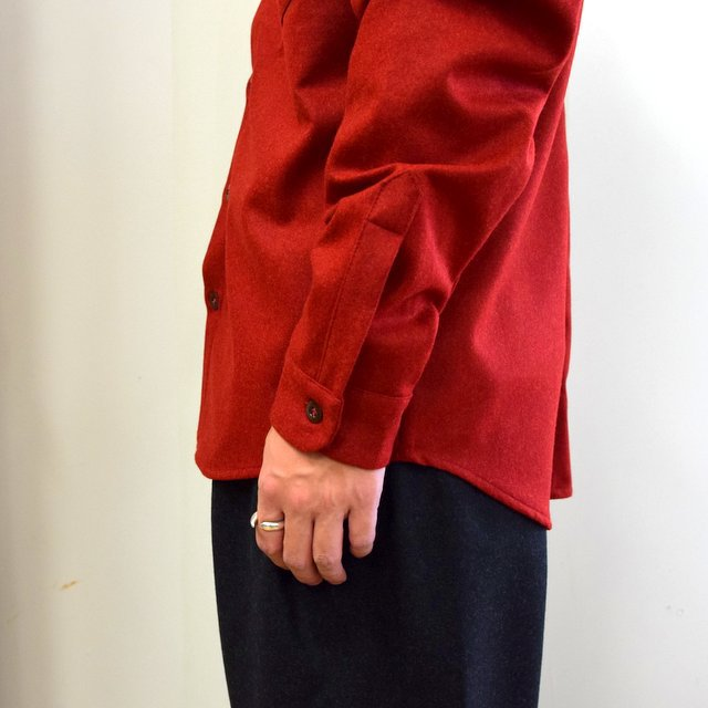 FRANK LEDER(フランクリーダー)/ LIGHT WEIGHT LODEN WOOL PLAIN SHIRT -RED- #0726027(8)