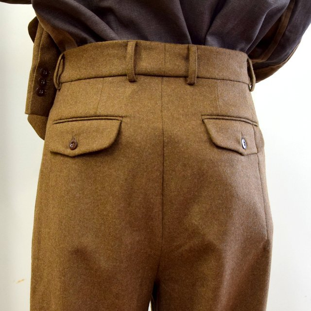 FRANK LEDER(フランクリーダー)/ LIGHT WEIGHT LODEN WOOL 2TUCK TROUSERS -BROWN- #0723028(8)