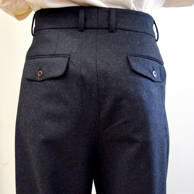 【2020】FRANK LEDER(フランクリーダー)/ LIGHT WEIGHT LODEN WOOL 2TUCK TROUSERS -BLACK- #0723028(8)