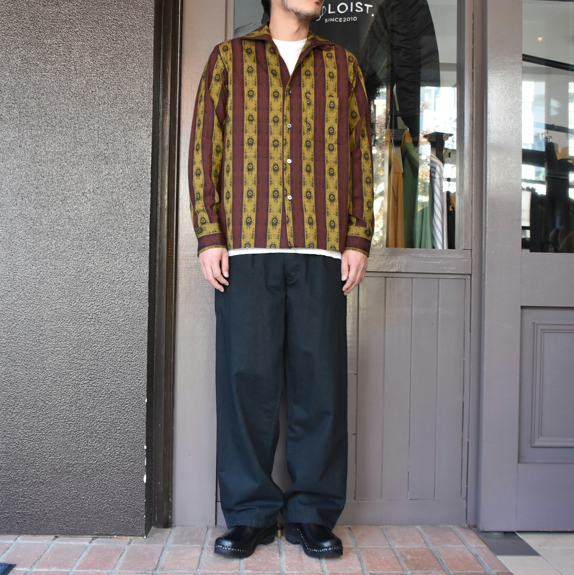 [2021]NEEDLES(ニードルス) C.O.B. ITALIAN COLLAR SHIRT INDIA STRIPE JQ -BORDEAUX-#IN112(8)