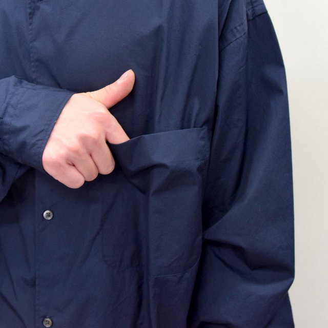 Graphpaper (グラフペーパー)/ BROAD OVERSIZED L/S BAND COLLAR SHIRT -NAVY- #GM211-50111B-GR(8)