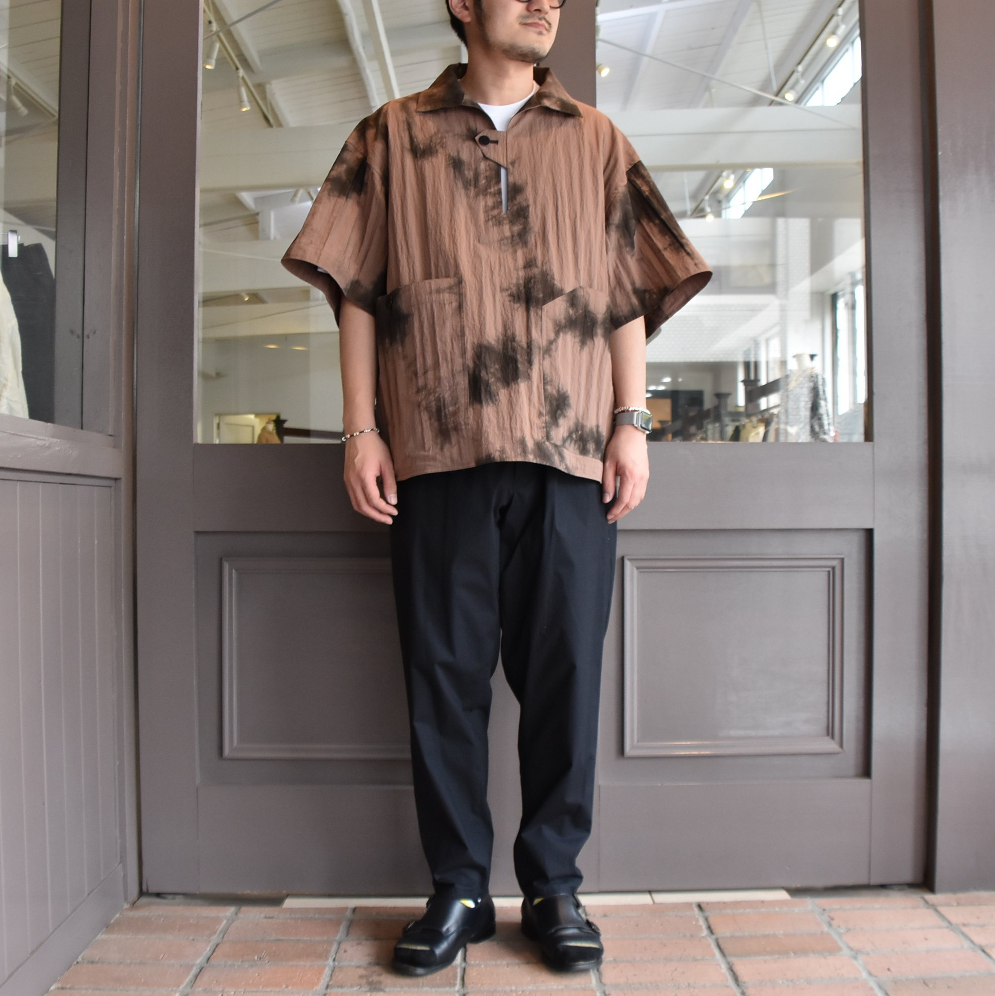 [2021]amachi.(アマチ) Packable Meeting Shirt -Brown Uneven Dye- #AY8-14(8)